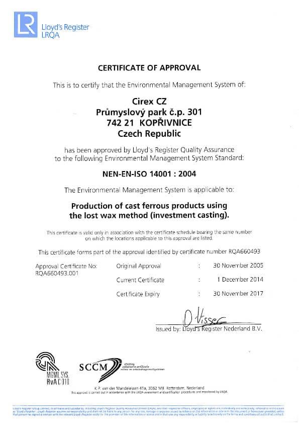 ISO 14001 CZ CIREX